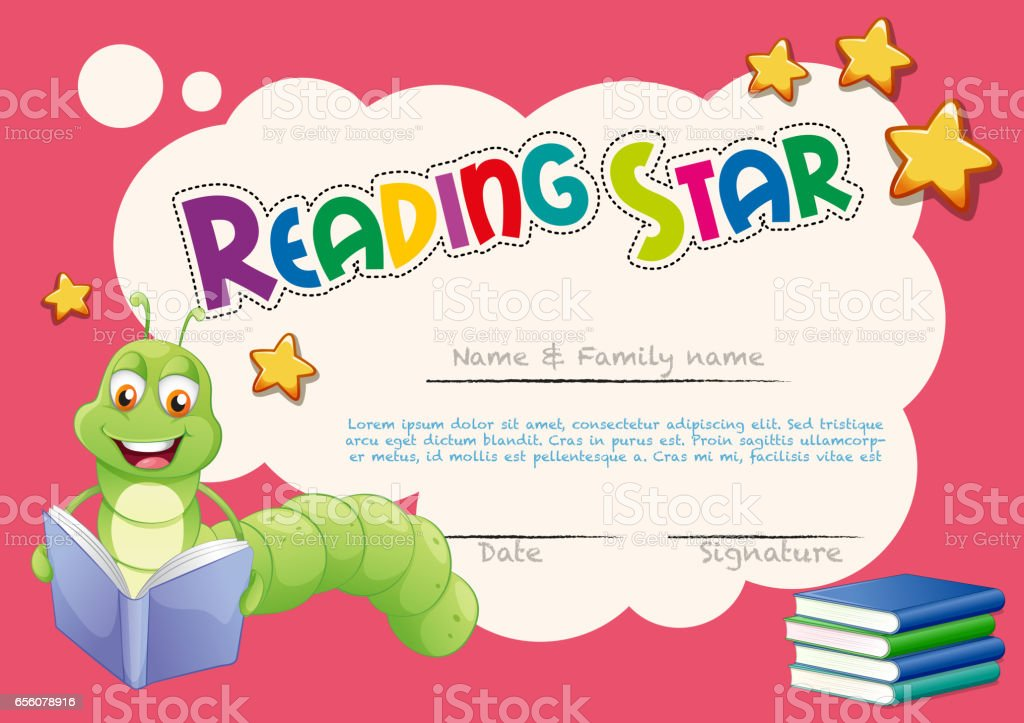 Certificate Template With Worm Reading Books Stock Vector Art More