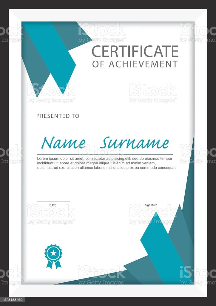 Certificate Templatediploma Layouta4 Size Vector Stock Vector Art