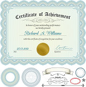 Certificate with design elements.All elements are separate objects. File is layered, global colors used and hi res jpeg included. Please take a look at other works of mine linked below.