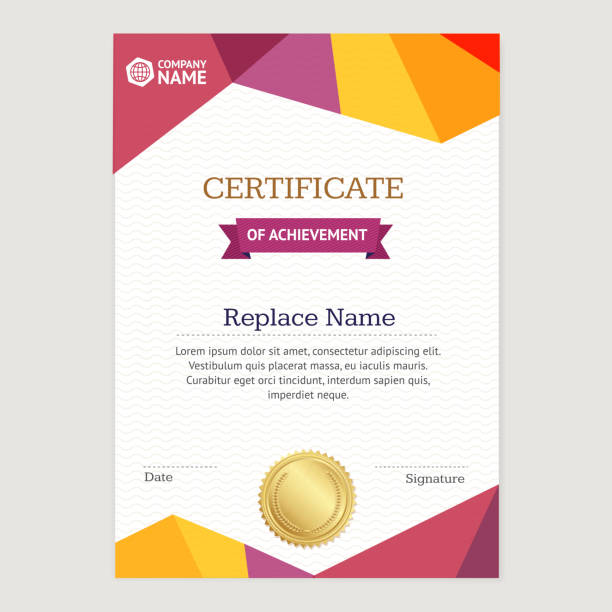 Certificate Vertical Template. Vector vector art illustration