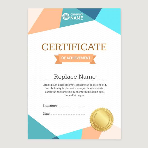 ilustrações, clipart, desenhos animados e ícones de certificate vertical template. vector - molduras de certificados e premiações