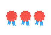 Certificate award seal. Red wax with star, blue ribbon in flat design. Quality badge icon isolated on white background. Winner stamp. Reward prize. Succeed sign.