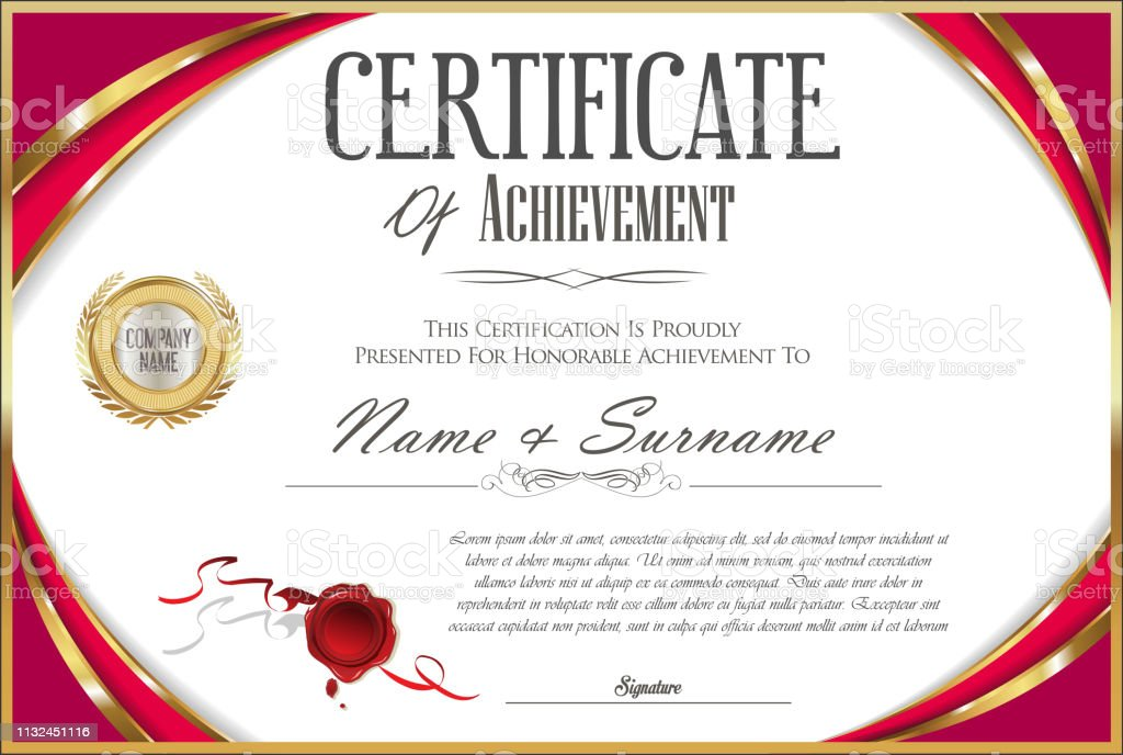 Certificate with golden seal and colorful design border