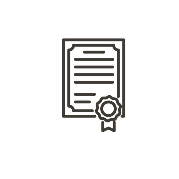 Zertifikat mit Wachssiegel-Symbol. Trendige moderne dünne Linie Illustration eines Diploms, Auszeichnung, Zertifikat, Auszeichnung, Graduierung Papier – Vektorgrafik