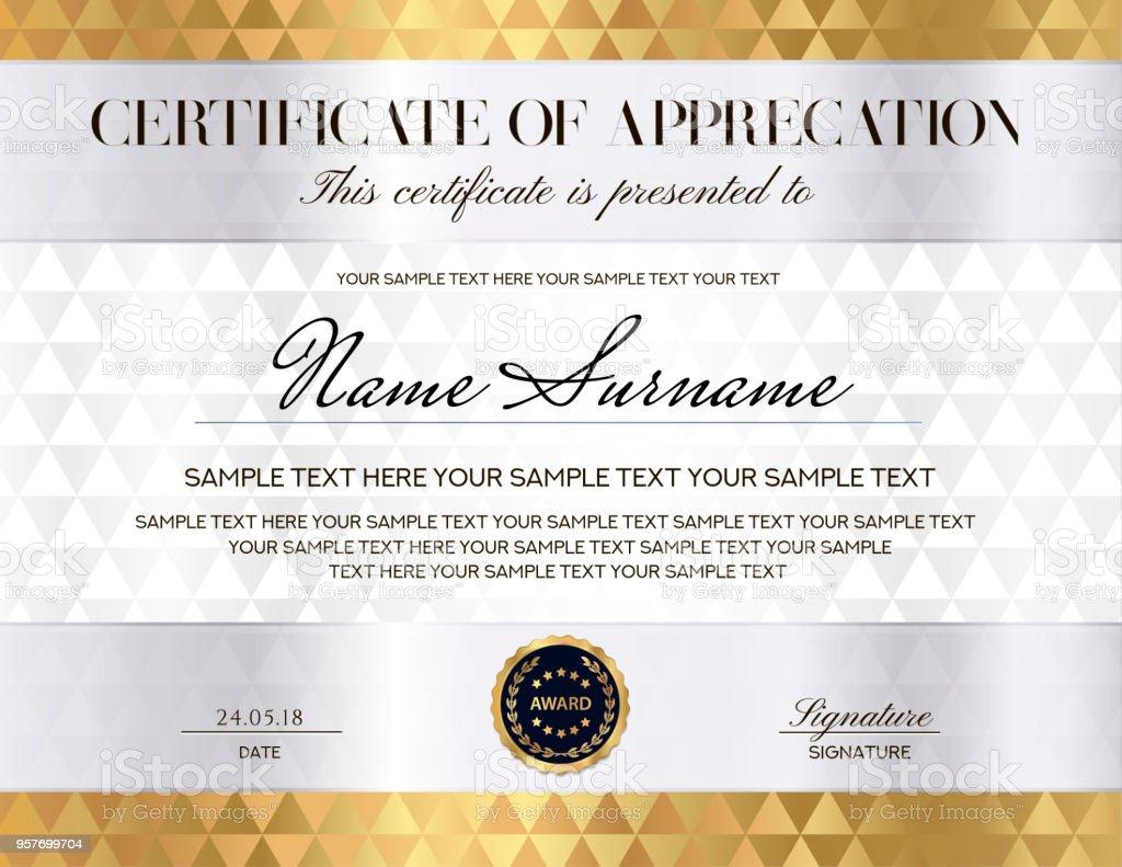 Zertifikat Mit Weißen Abstrakten Hintergrund Designvorlage Mit Gold ...