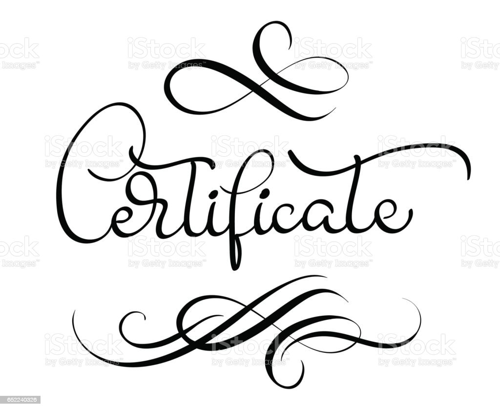 Certificate Word With Flourish On White Background Calligraphy – Word Certificate