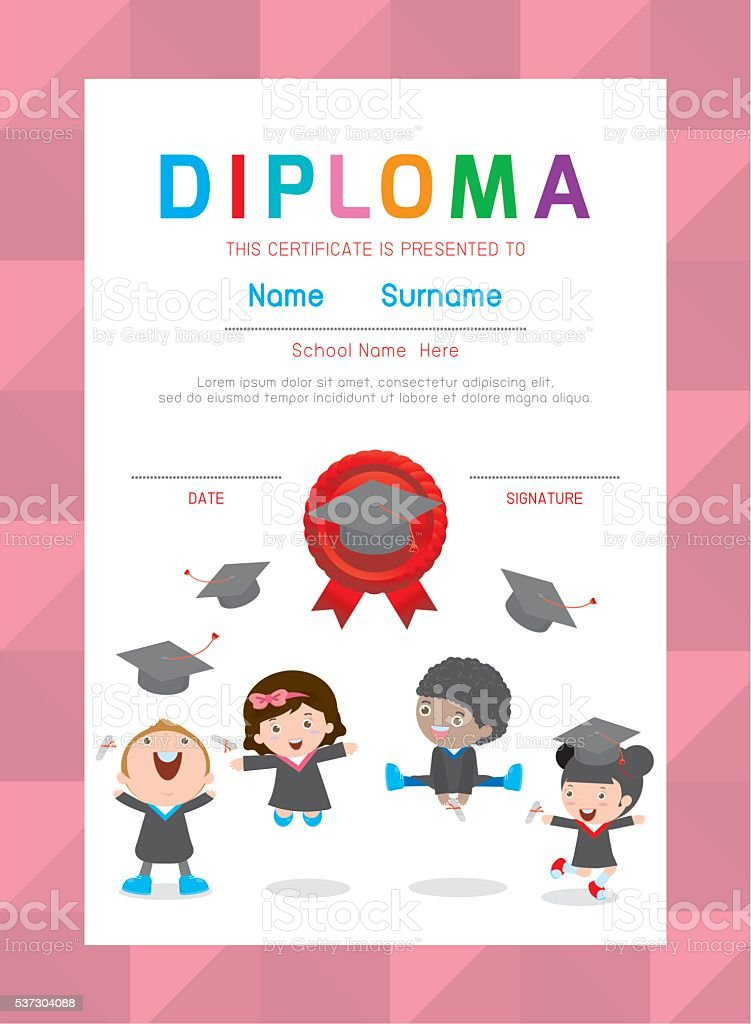 certificates kindergarten and elementary kids diploma certificate