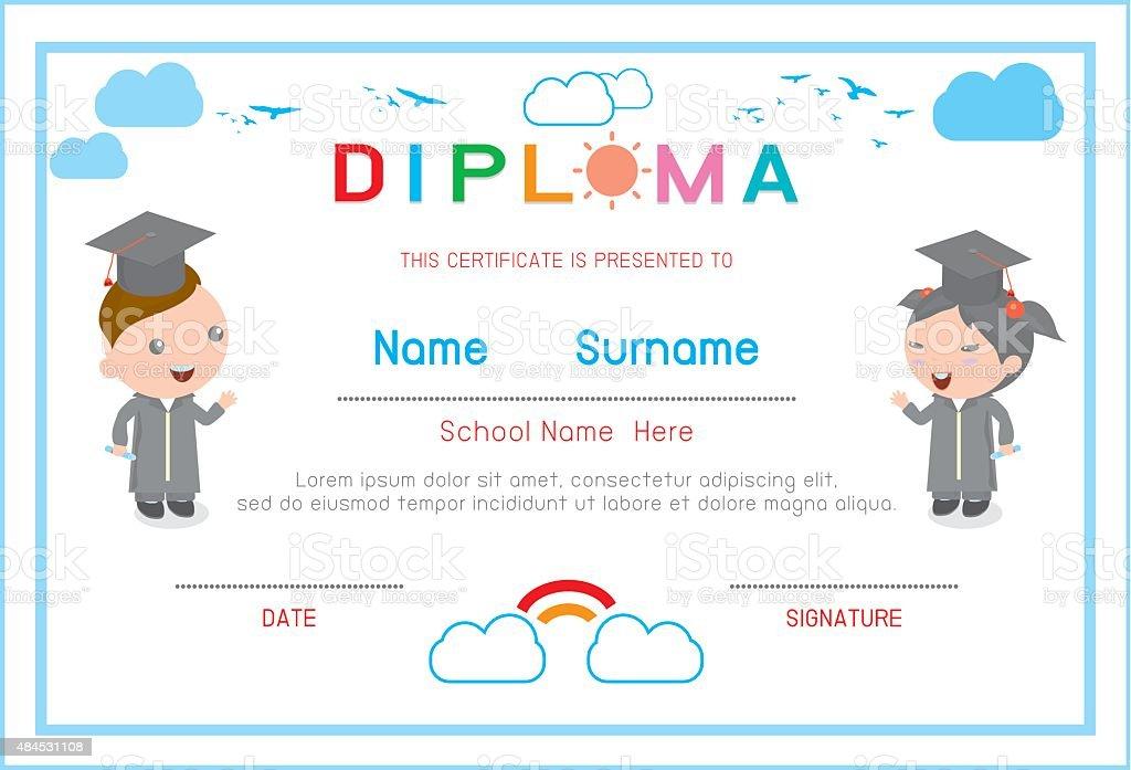 Certificates Kindergarten And Elementary Preschool Kids Diploma ...