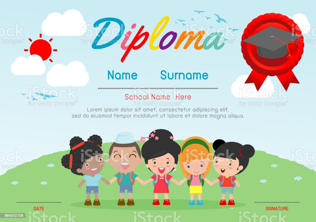 Certificates kindergarten and elementary, Preschool Kids Diploma certificate pattern design template, Diploma template for kindergarten students, Certificate of kids diploma, vector illustration - Royalty-free Achievement stock vector