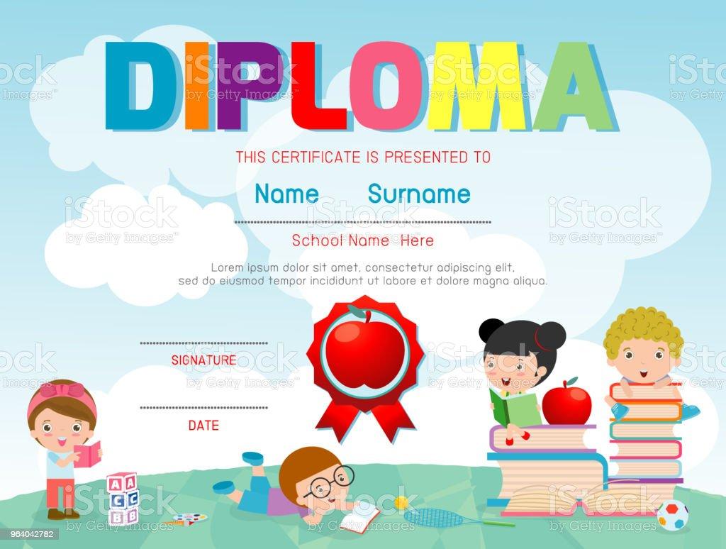 証明書の幼稚園小学校幼児子供卒業証明書パターン デザイン テンプレート