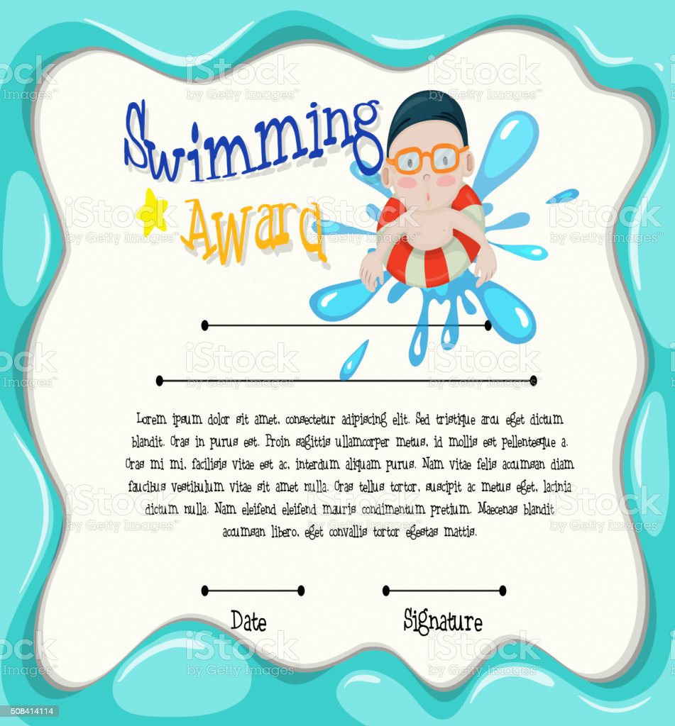 Certification Template Of Best Swimmer Stock Vector Art & More ...