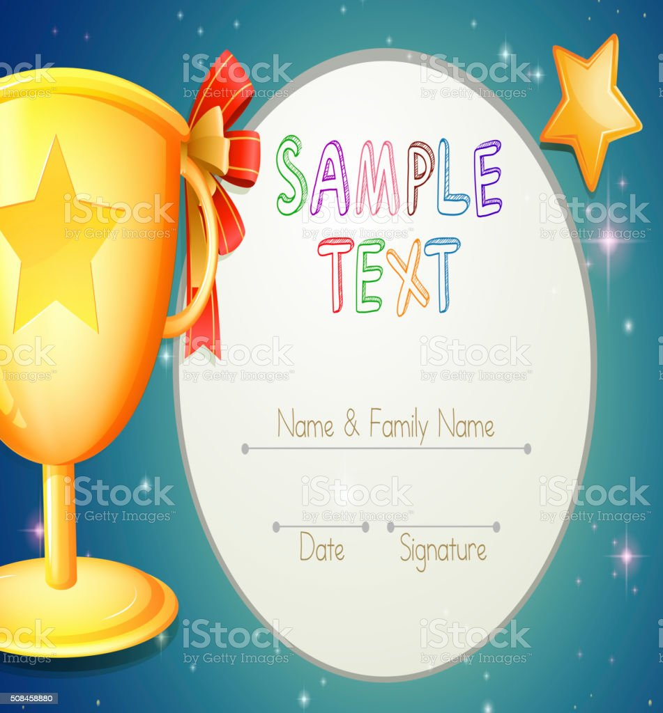 Certification Template With Stars And Trophy Stock Vector Art More