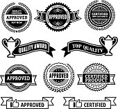 Certified and Approved Quality Award black & white icon set