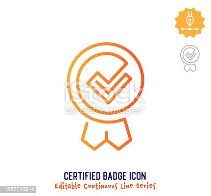 Certified badge vector icon illustration for logo, emblem or symbol use. Part of continuous one line minimalistic drawing series. Design elements with editable gradient stroke line.