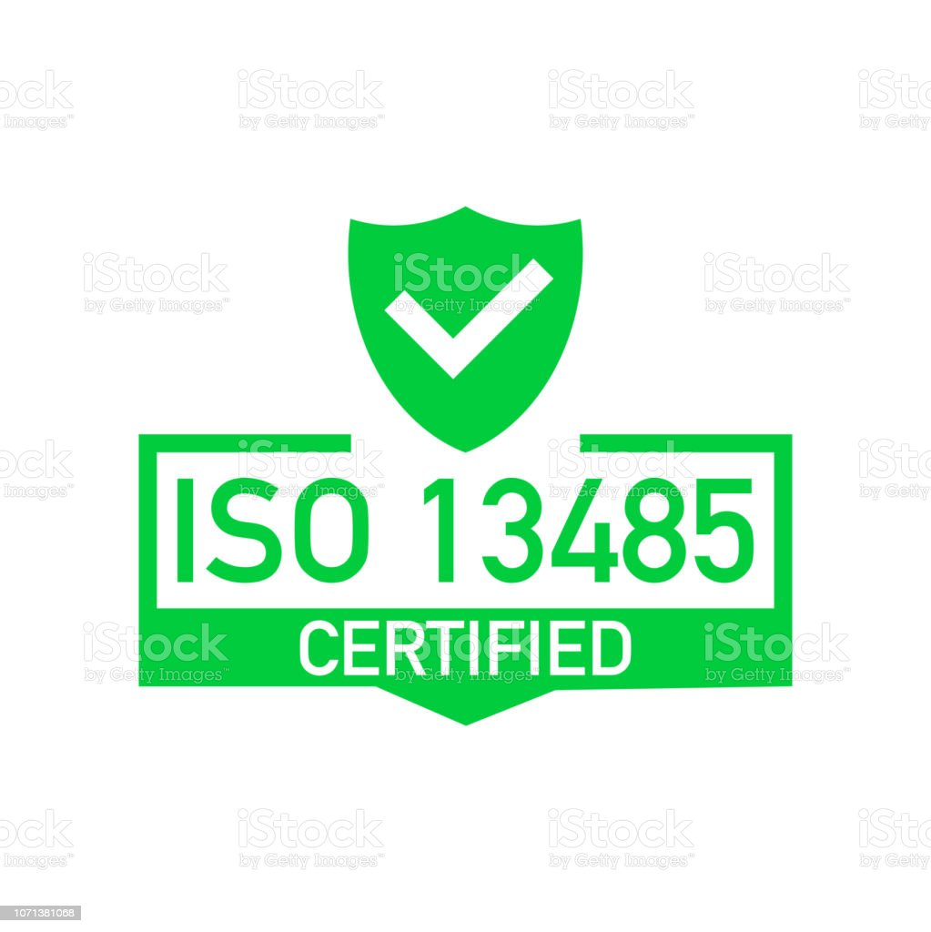 Iso 13485 Certified Badge Icon Certification Stamp Flat