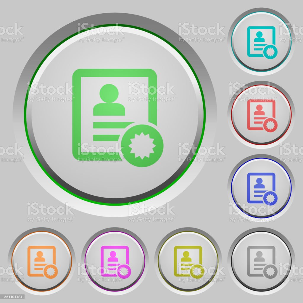 Certified contact push buttons vector art illustration