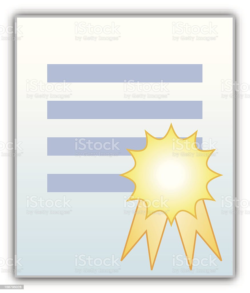 Certified Document with ribbon stamp royalty-free stock vector art
