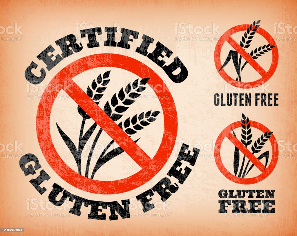 Certified Gluten Free Banners on royalty free vector Background vector art illustration