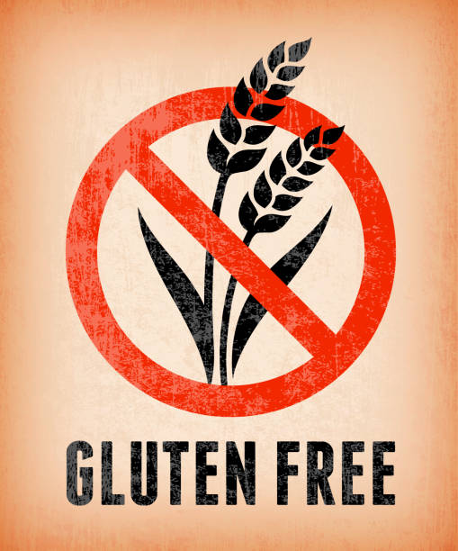 illustrations, cliparts, dessins animés et icônes de certifié des plats sans gluten bannières sur fond vectorielles libres de droits - sans gluten