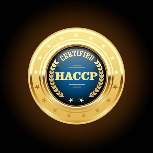 haccp 인증 금메달-위험 분석 및 중요 관리 포인트 휘장 - 토큰 stock illustrations