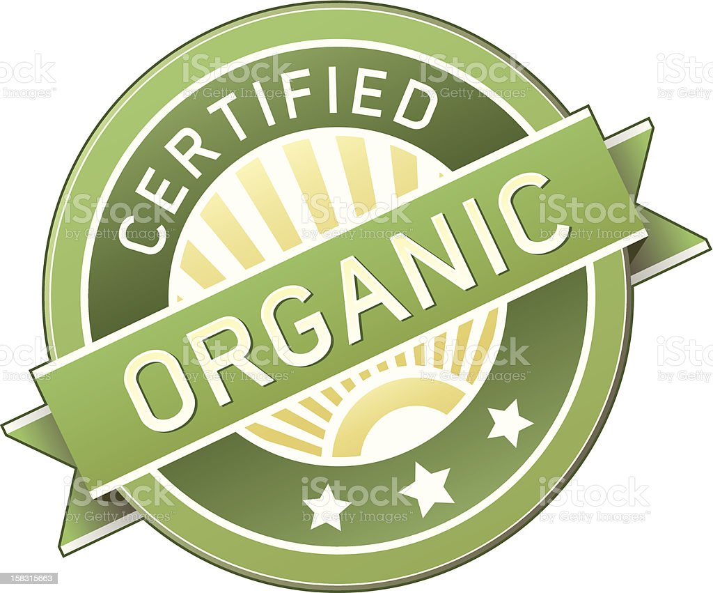 Certified organic food label or sticker vector art illustration