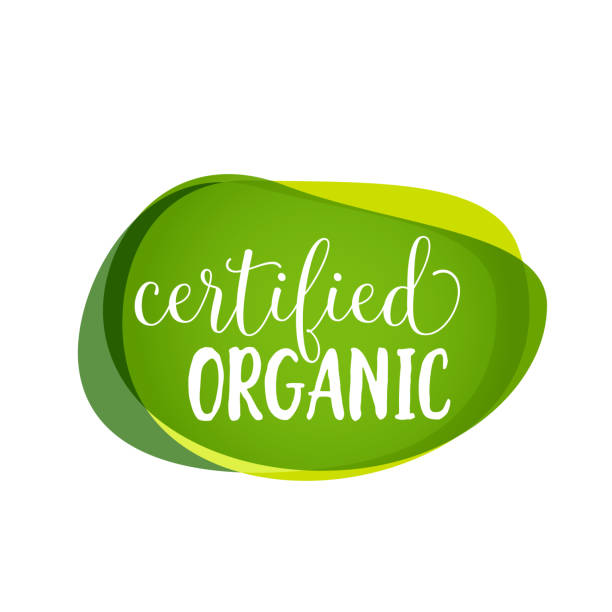 certified organic lettering - organic stock illustrations, clip art, cartoons, & icons