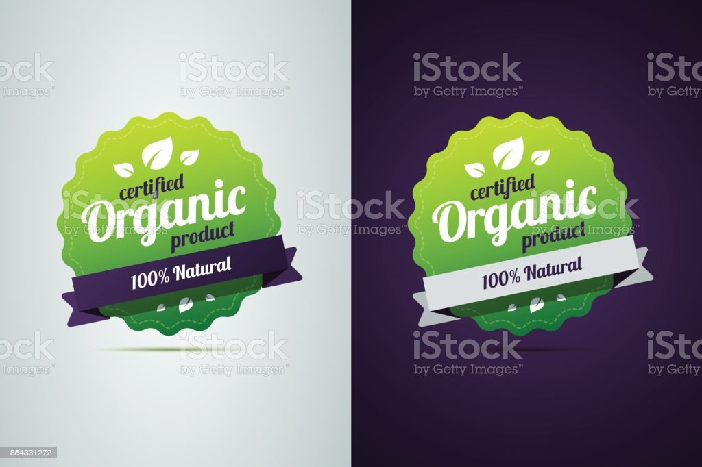Certified organic product. vector art illustration
