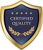 Certified quality guarantee luxury gold shield with five stars.