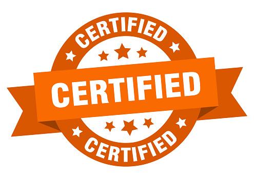 certified ribbon. certified round orange sign. certified