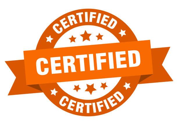 certified ribbon. certified round orange sign. certified vector art illustration