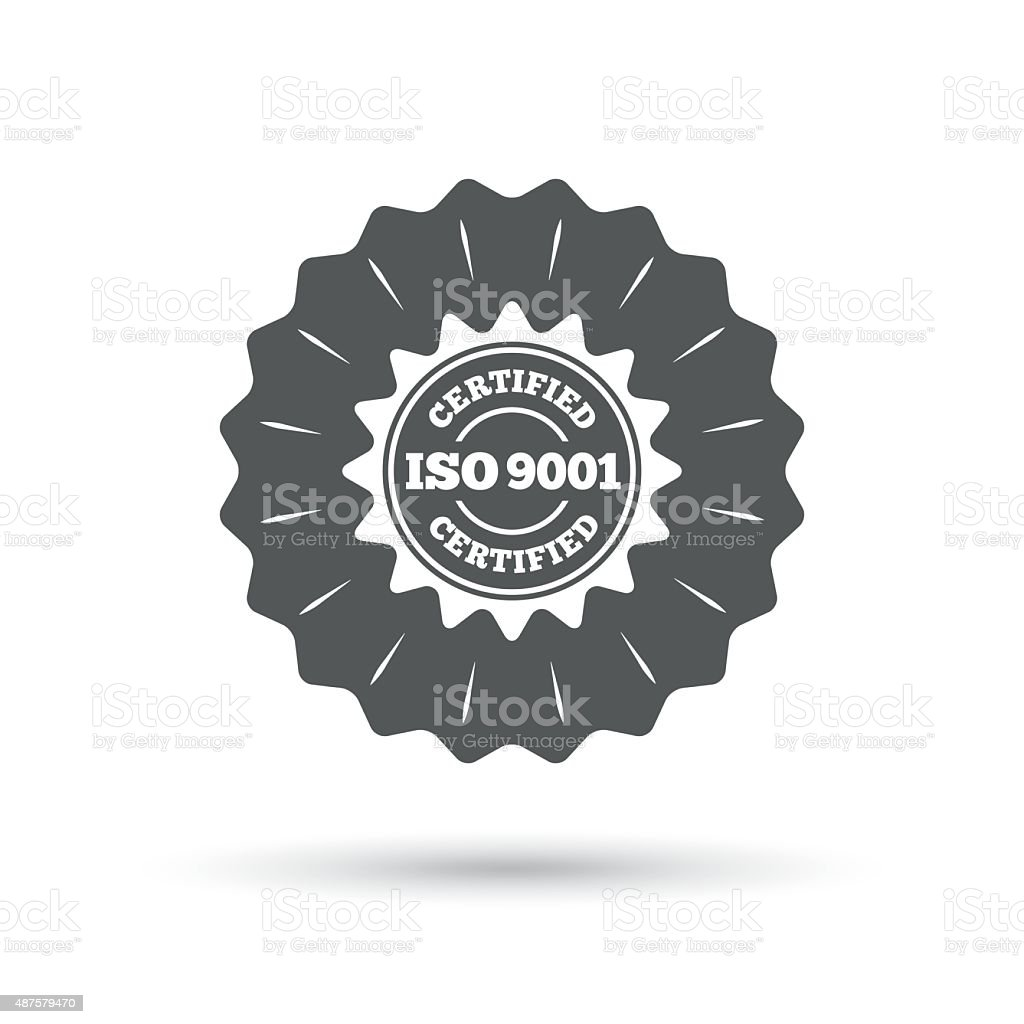 ISO 9001 certified sign. Certification stamp vector art illustration