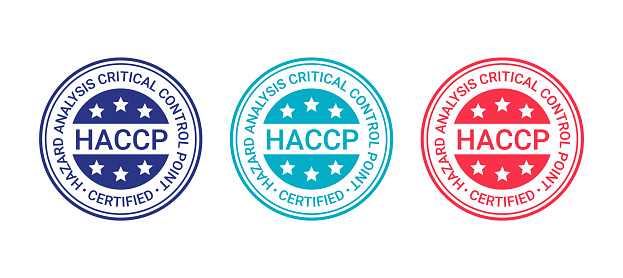 HACCP certified round stamp. Hazard analysis and Critical Control Points emblem. Warranty quality food icon isolated on white background. Vector illustration.