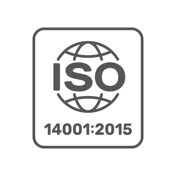 stockillustraties, clipart, cartoons en iconen met iso 14001:2015 gecertificeerd symbool. iso 14001 2015 gecertificeerd kwaliteitsmanagement teken. bewerkbare lijn. eps 10 - 2015
