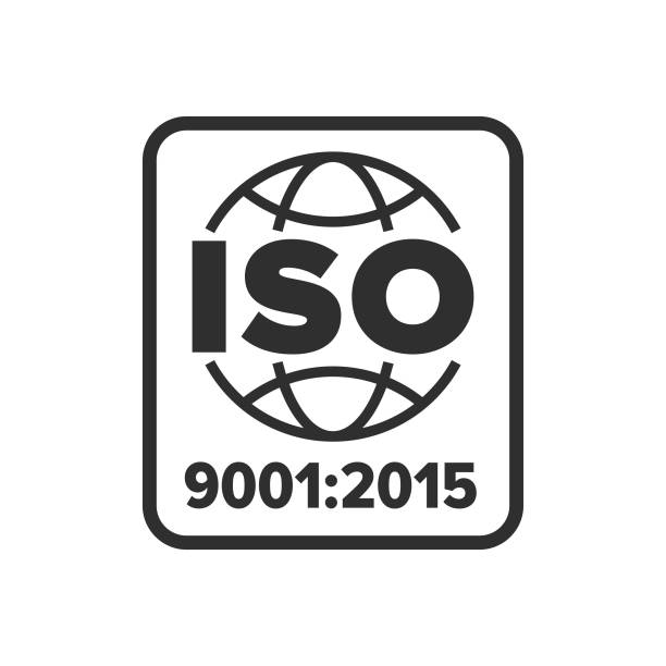 illustrazioni stock, clip art, cartoni animati e icone di tendenza di iso 9001 certified symbol - 2015