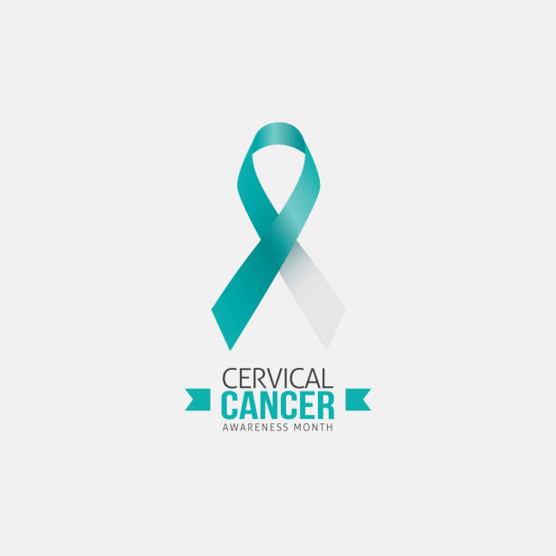 cervical cancer awareness in january - ovarian cancer ribbon stock illustrations
