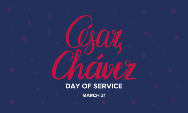 Cesar Chavez Day. Day of service and learning. Poster with handwritten calligraphy text, silhouette and USA flag. The official national american holiday, celebrated annually. Poster, banner and background Cesar Chavez Day. Day of service and learning. Poster with handwritten calligraphy text, silhouette and USA flag. The official national american holiday, celebrated annually. Poster, banner and background name of person stock illustrations