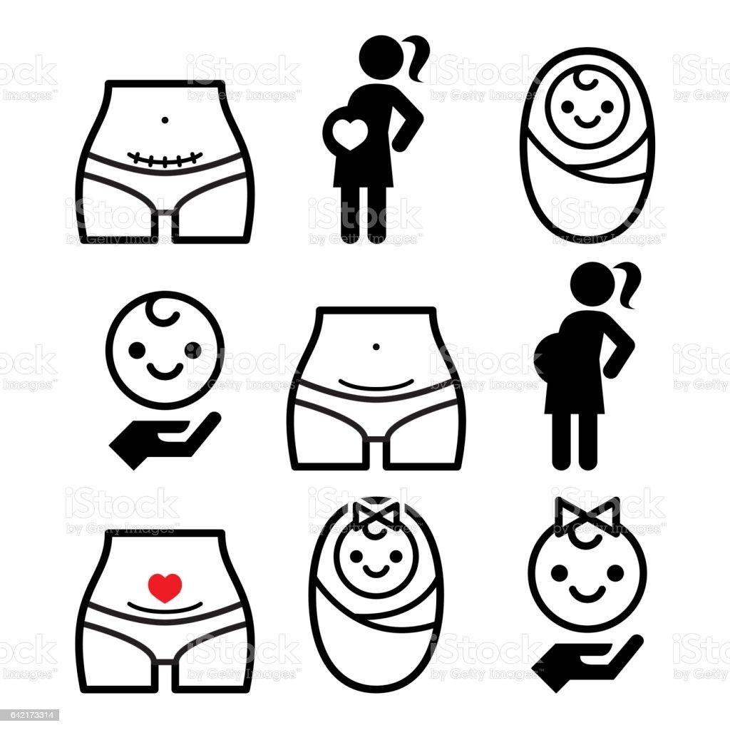 Cesarean section, c-section, pregnant woman, baby icons set vector art illustration
