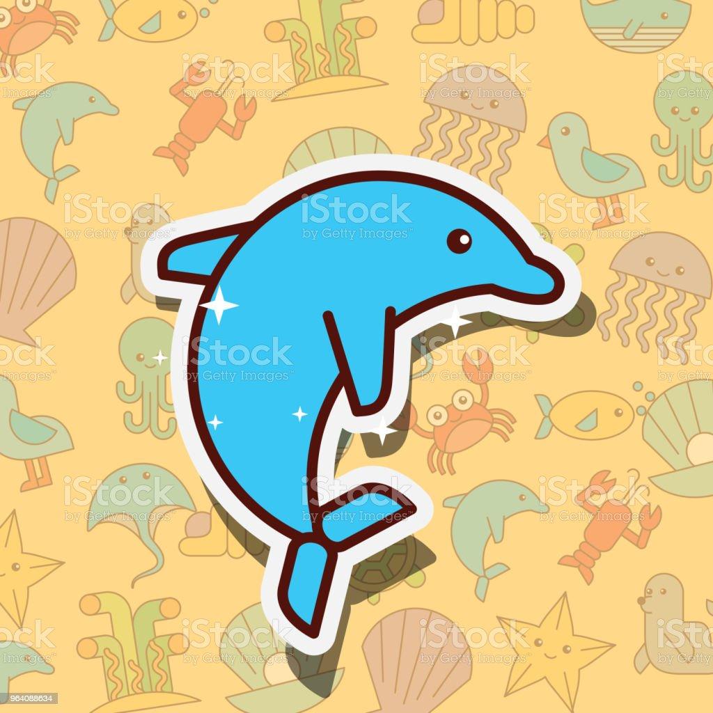 cetacean dolphin sea life cartoon - Royalty-free Animal stock vector