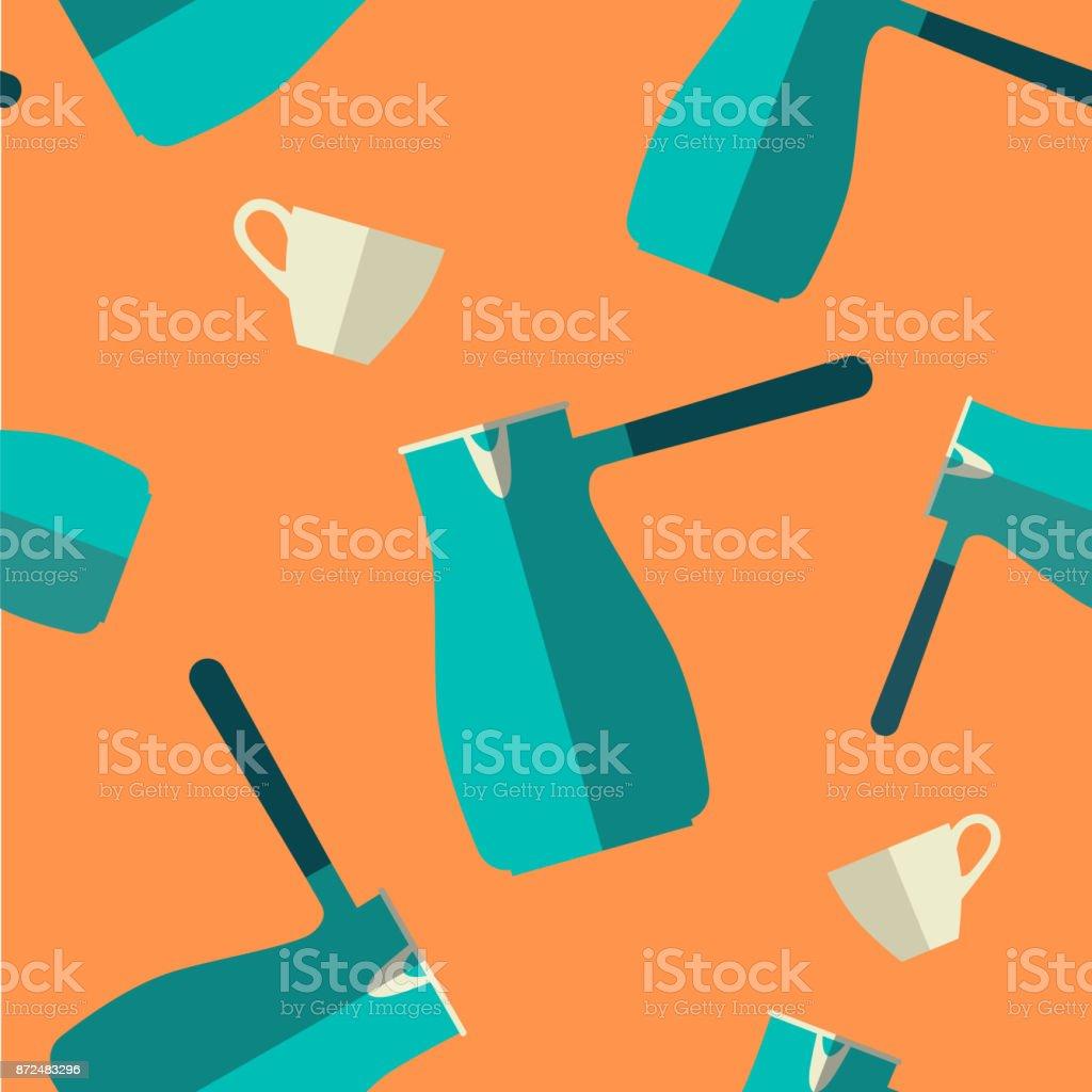 Xícara de café e cezve. Plano de fundo transparente. Ilustração em vetor. - ilustração de arte em vetor