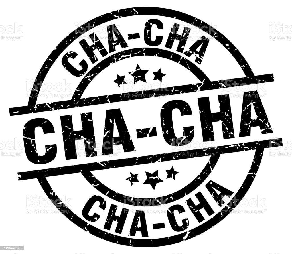 cha-cha okrągły grunge czarny znaczek - Grafika wektorowa royalty-free (Białe tło)
