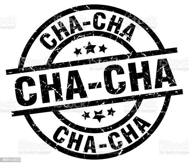 Chacha Okrągły Grunge Czarny Znaczek - Stockowe grafiki wektorowe i więcej obrazów Białe tło