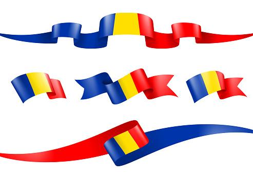 Chad flag Ribbon Set - Vector Stock Illustration