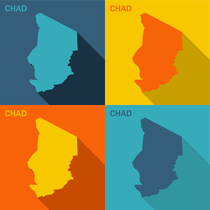 Chad flat map available in four colors