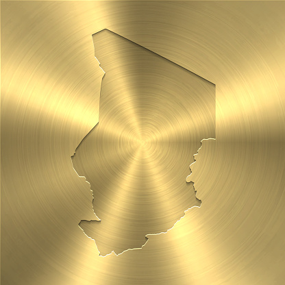 Chad map on gold background - Circular brushed metal texture