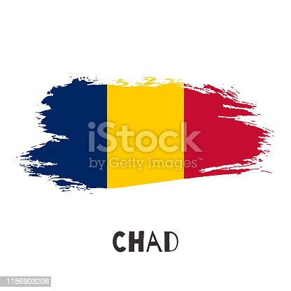 944453740 istock photo Chad vector watercolor national country flag icon 1156903206