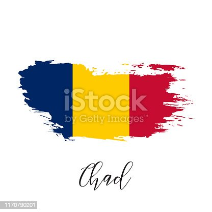 944453740 istock photo Chad vector watercolor national country flag icon. 1170790201