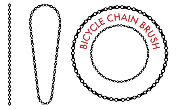 Chain Brush Set Chain Brush Set on the White Background bicycle chain stock illustrations