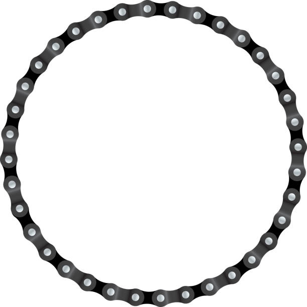 Chain Circle Realistic drawing of a circle made from bike chain bicycle chain stock illustrations