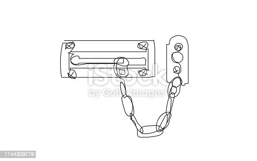Door lock with security chain in a line art style