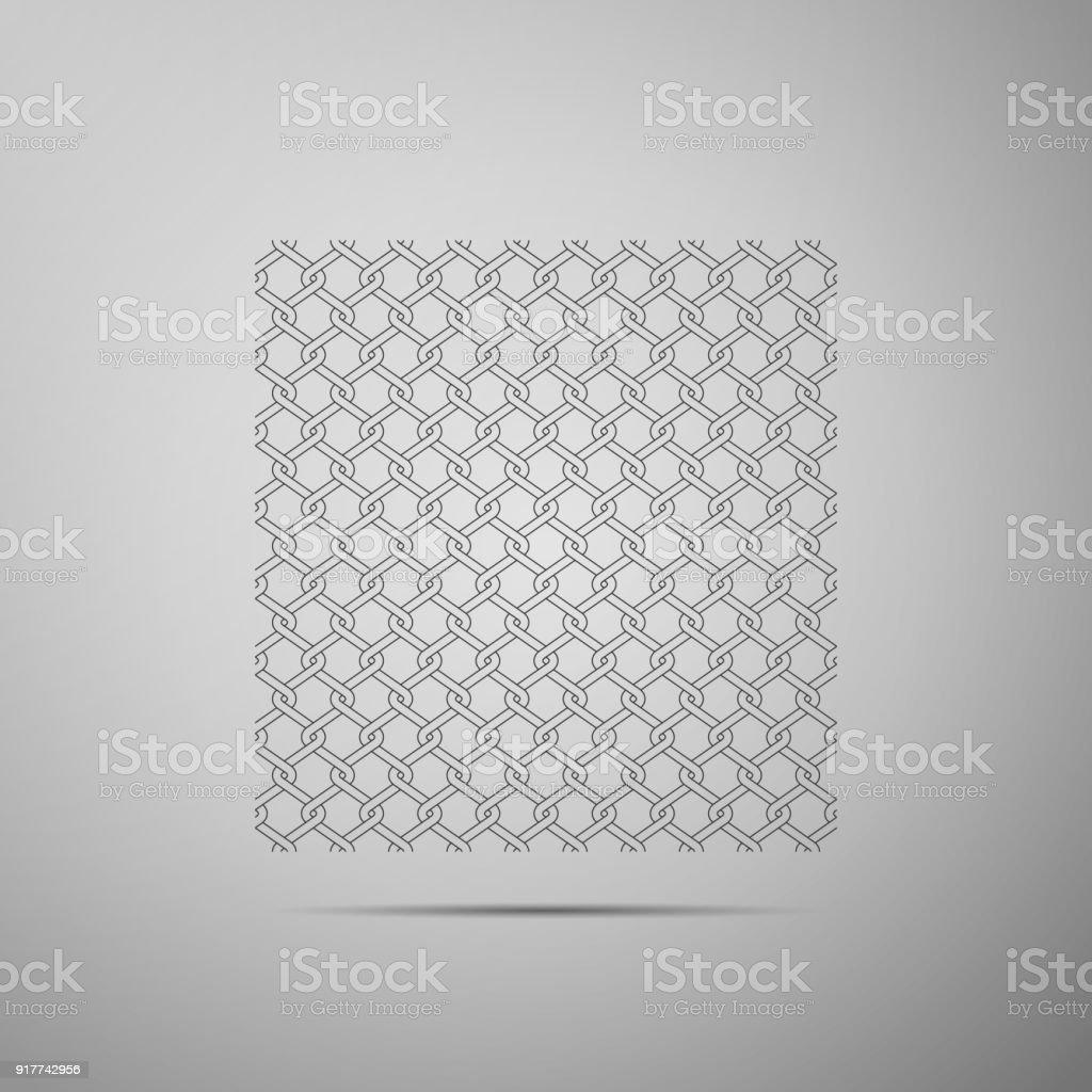 Kette Zaun Symbol Isoliert Auf Grauem Hintergrund Metallischen Draht ...